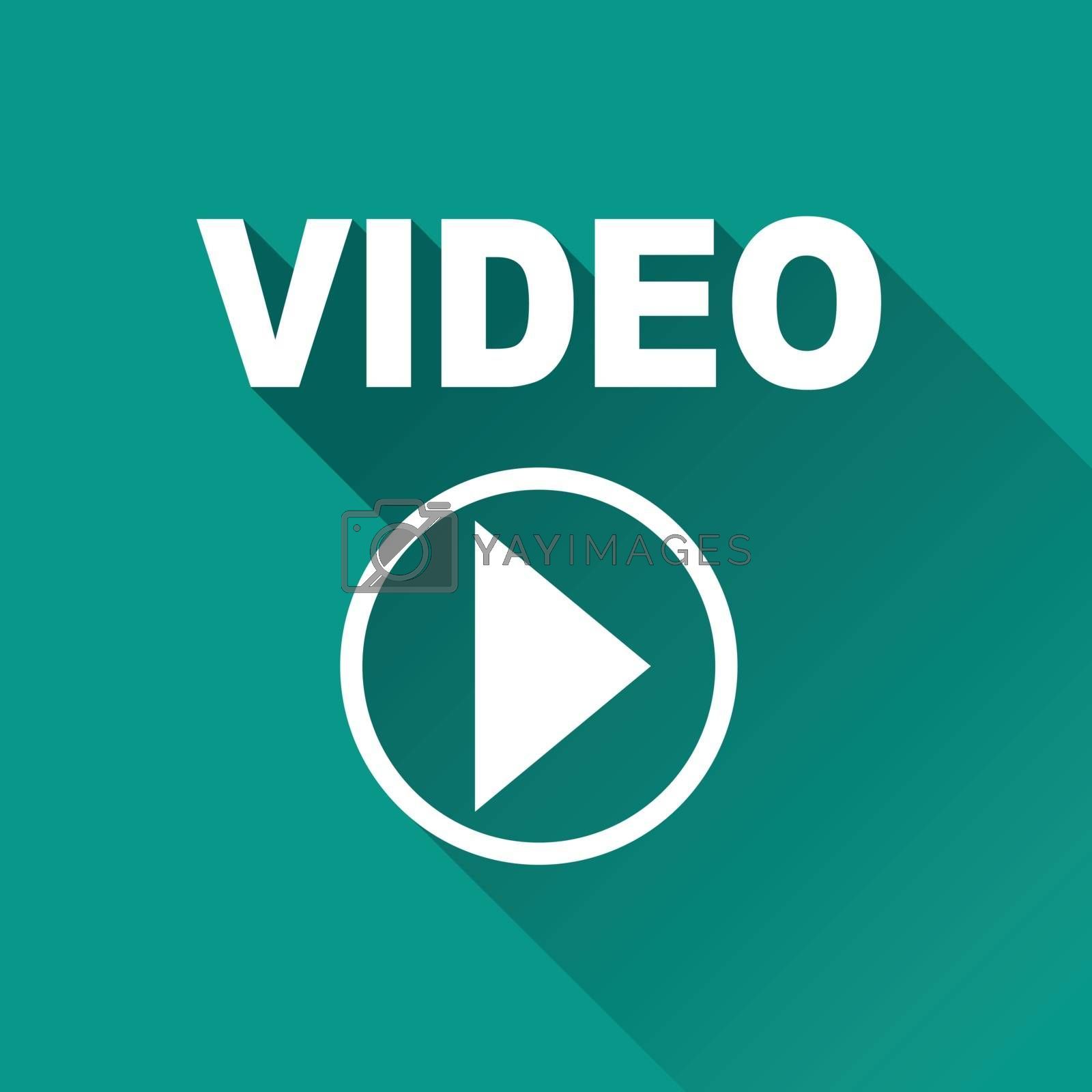 illustration of video flat design icon isolated