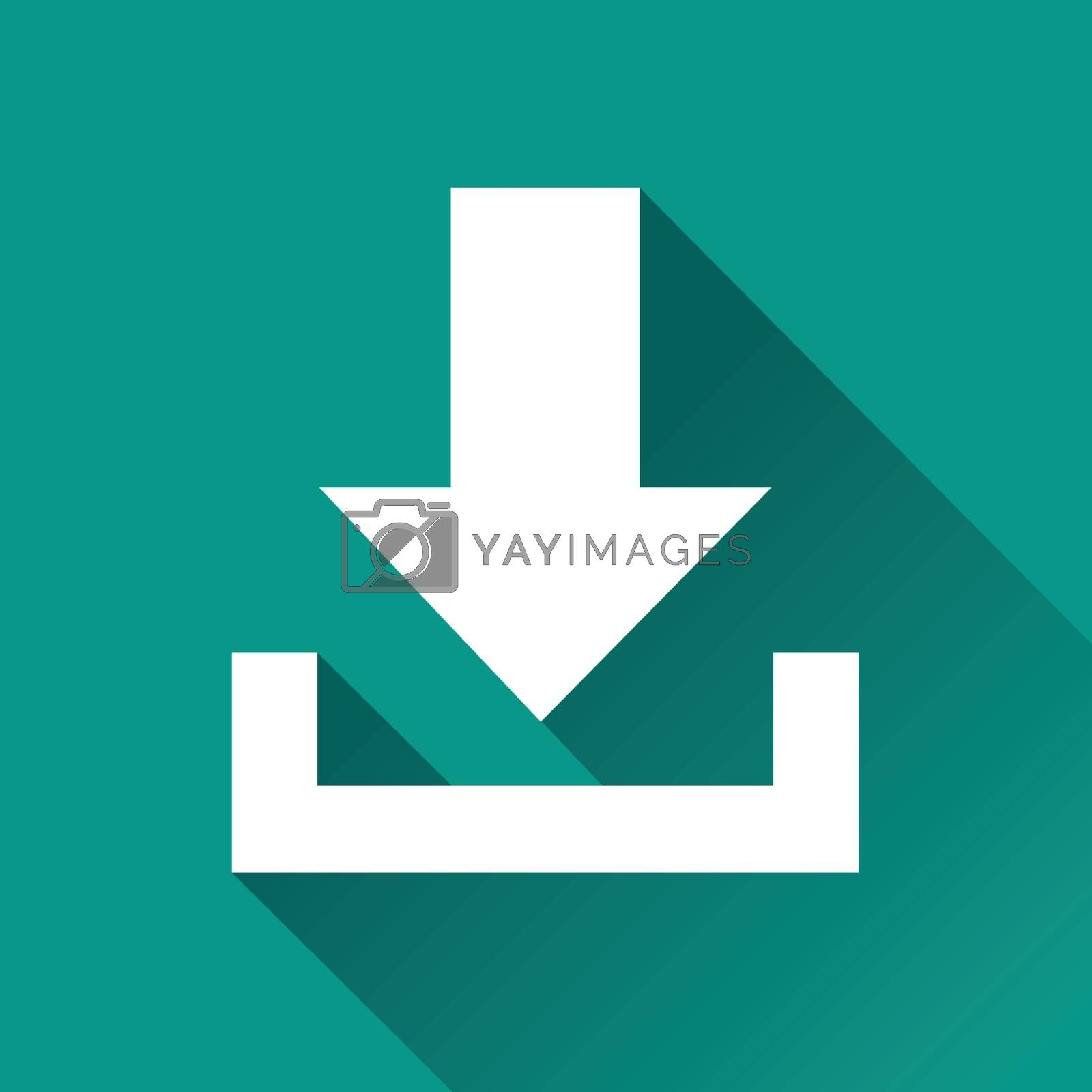 illustration of download flat design icon isolated