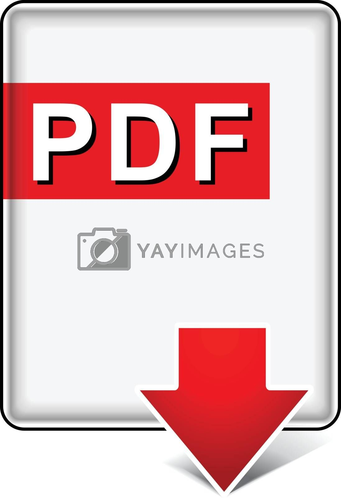 illustration of pdf download icon on white background