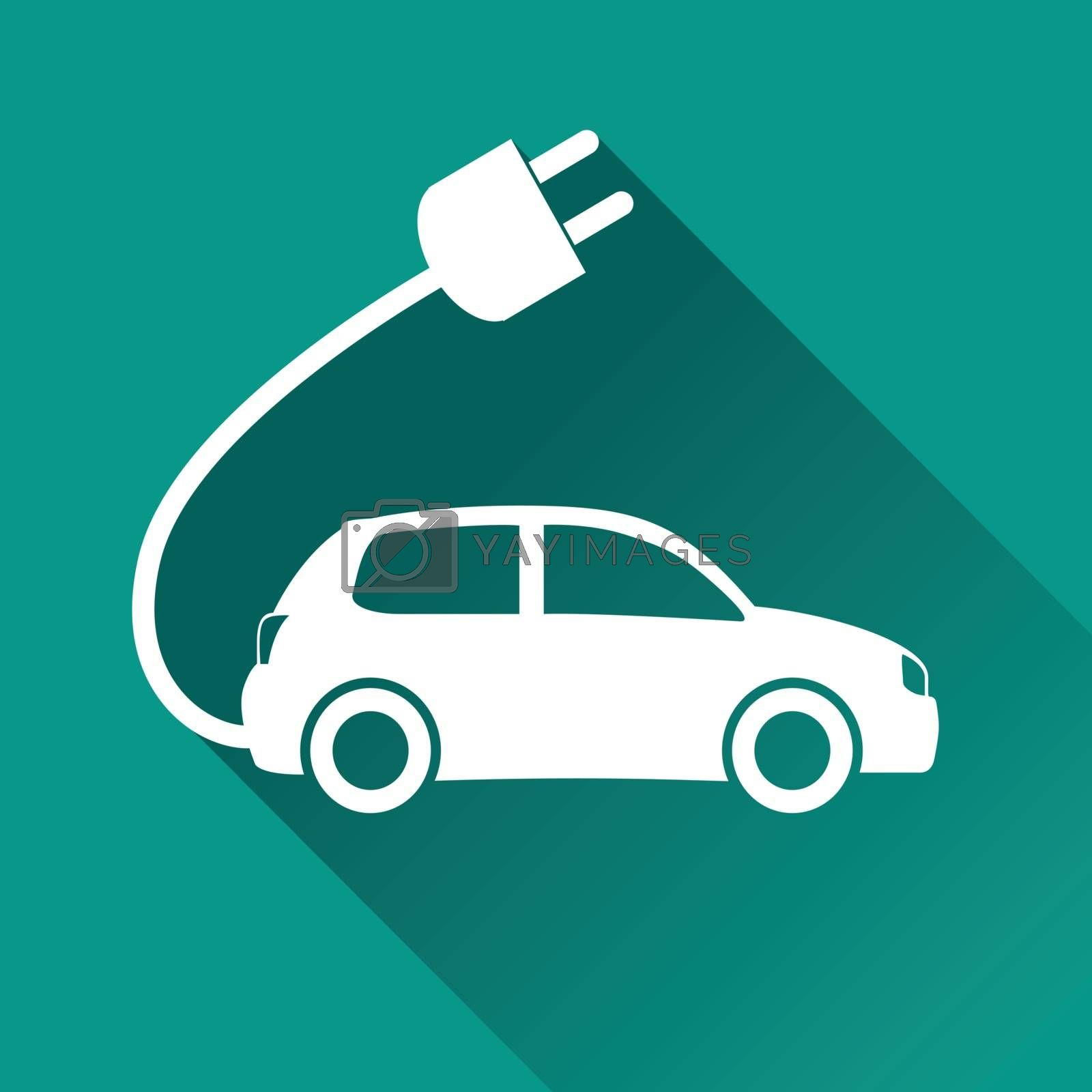 illustration of electric car flat design icon isolated