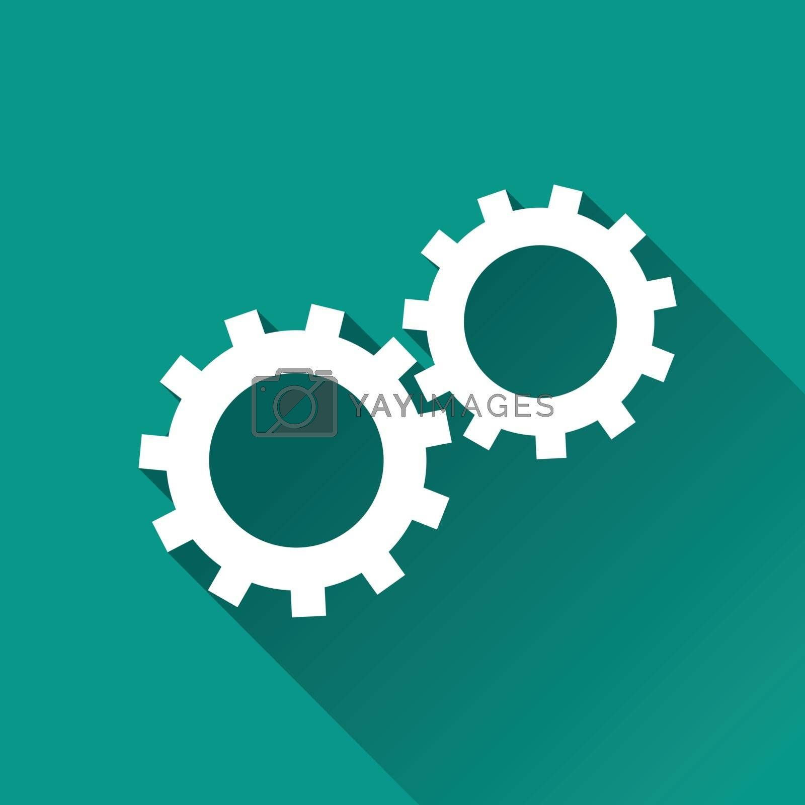 illustration of gears flat design icon isolated