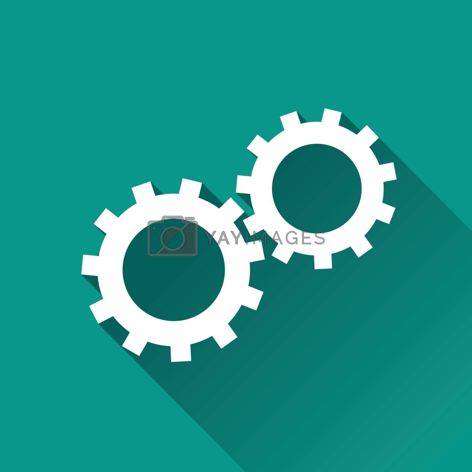 gears flat design icon by nickylarson974