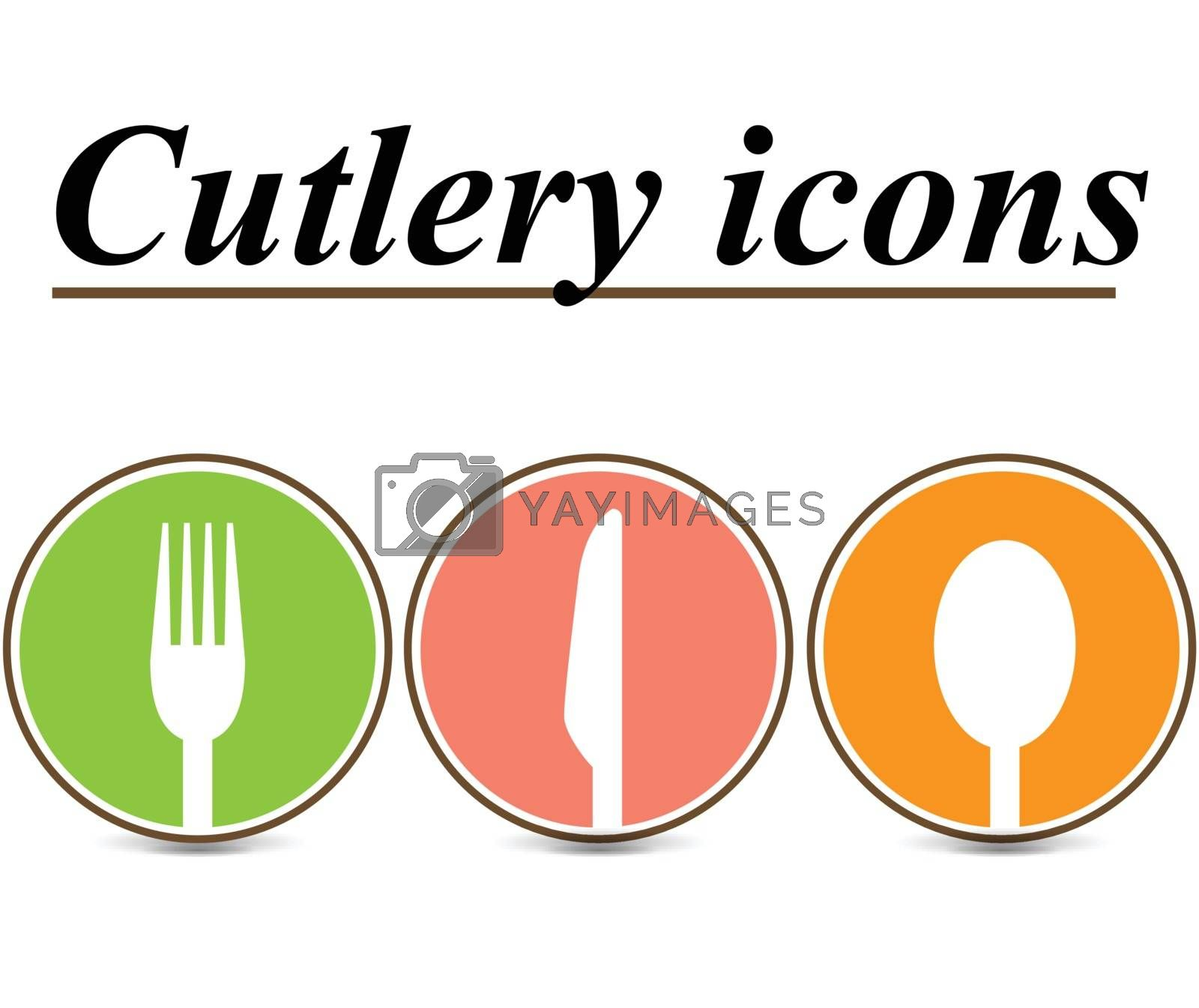 illustration of three cutlery icons on white background