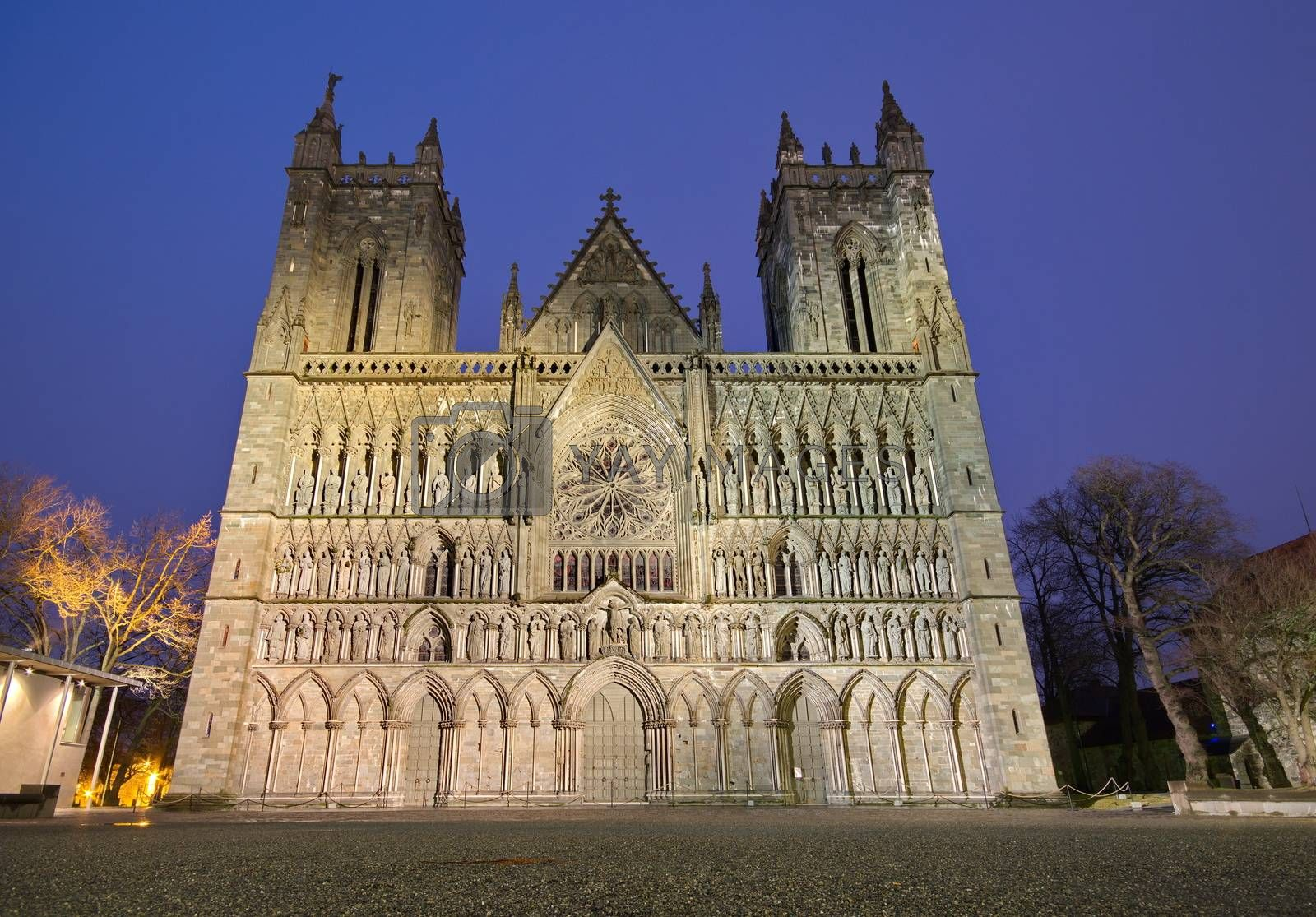 Royalty free image of Nidarosi cathedral in the center of Trondheim, Norway by anderm