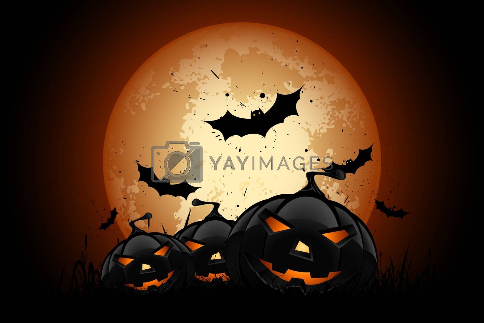 Happy Halloween Poster. Holiday Illustration with Bats and Pumpkins.