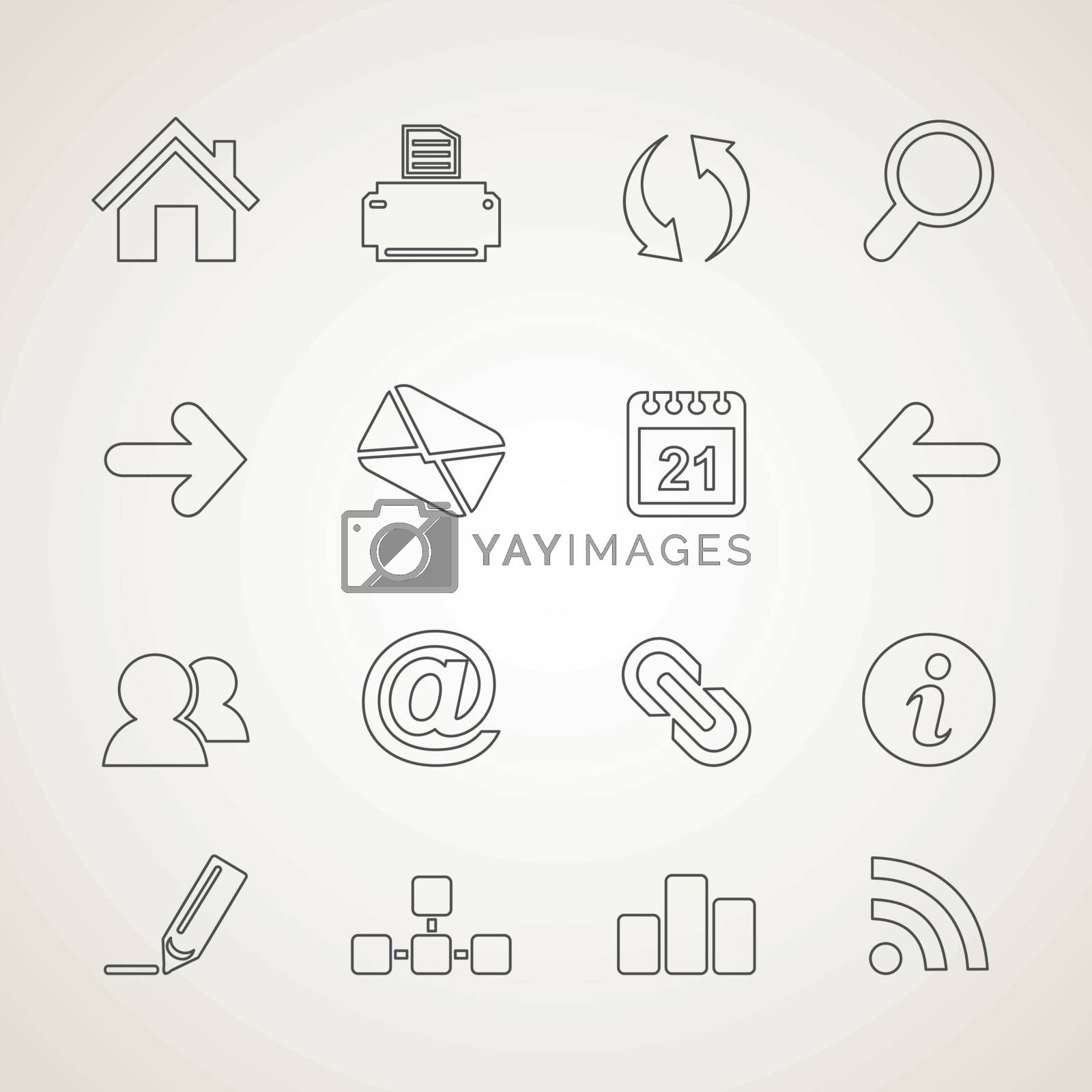 Set of outline icons. Vector illustration