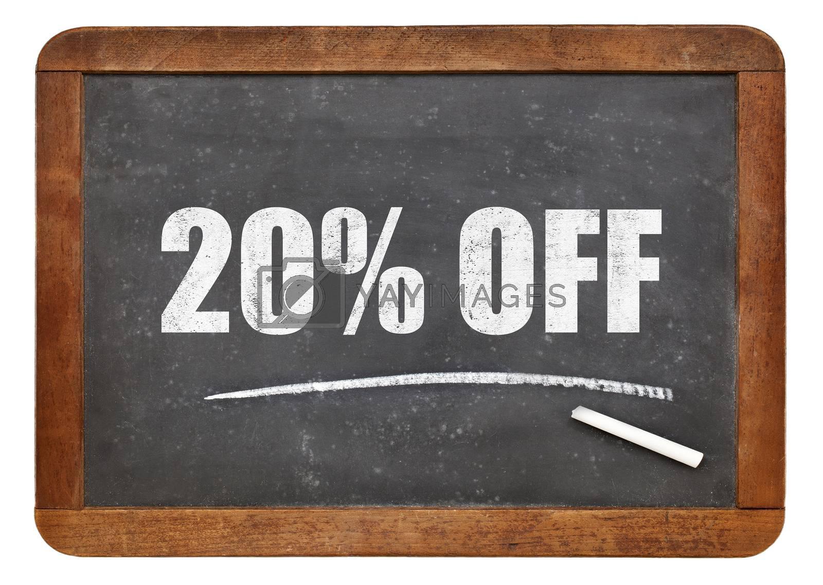 twenty  percent off blackboard sign - text on an isolated  vintage slate blackboard