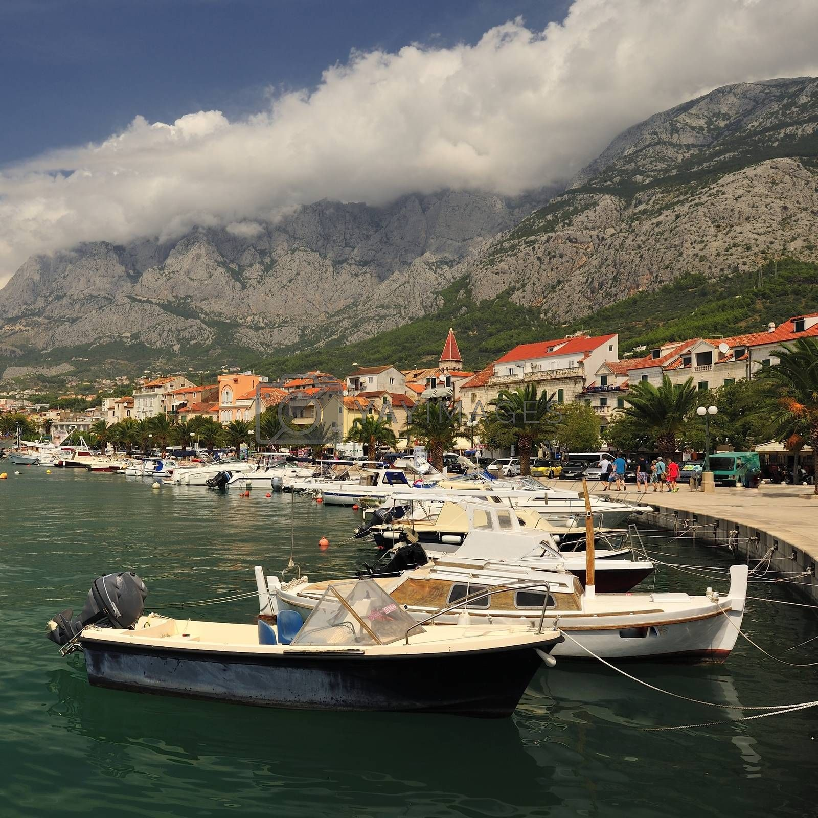 Harbour with boat, Markarska Riviera in Croatia.
