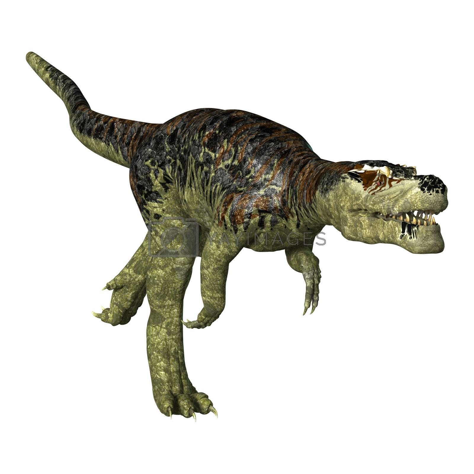 3D digital render of a dinosaur Tyrannosaurus Rex running isolated on white background