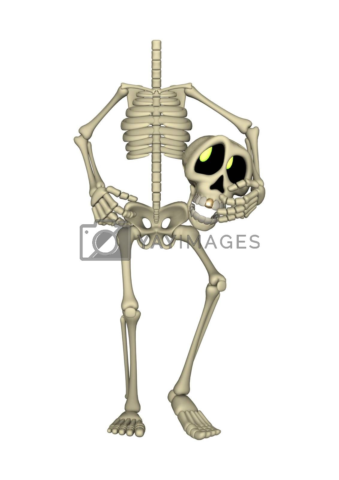 3D digital render of a cartoon human skeleton holding his head isolated on white background