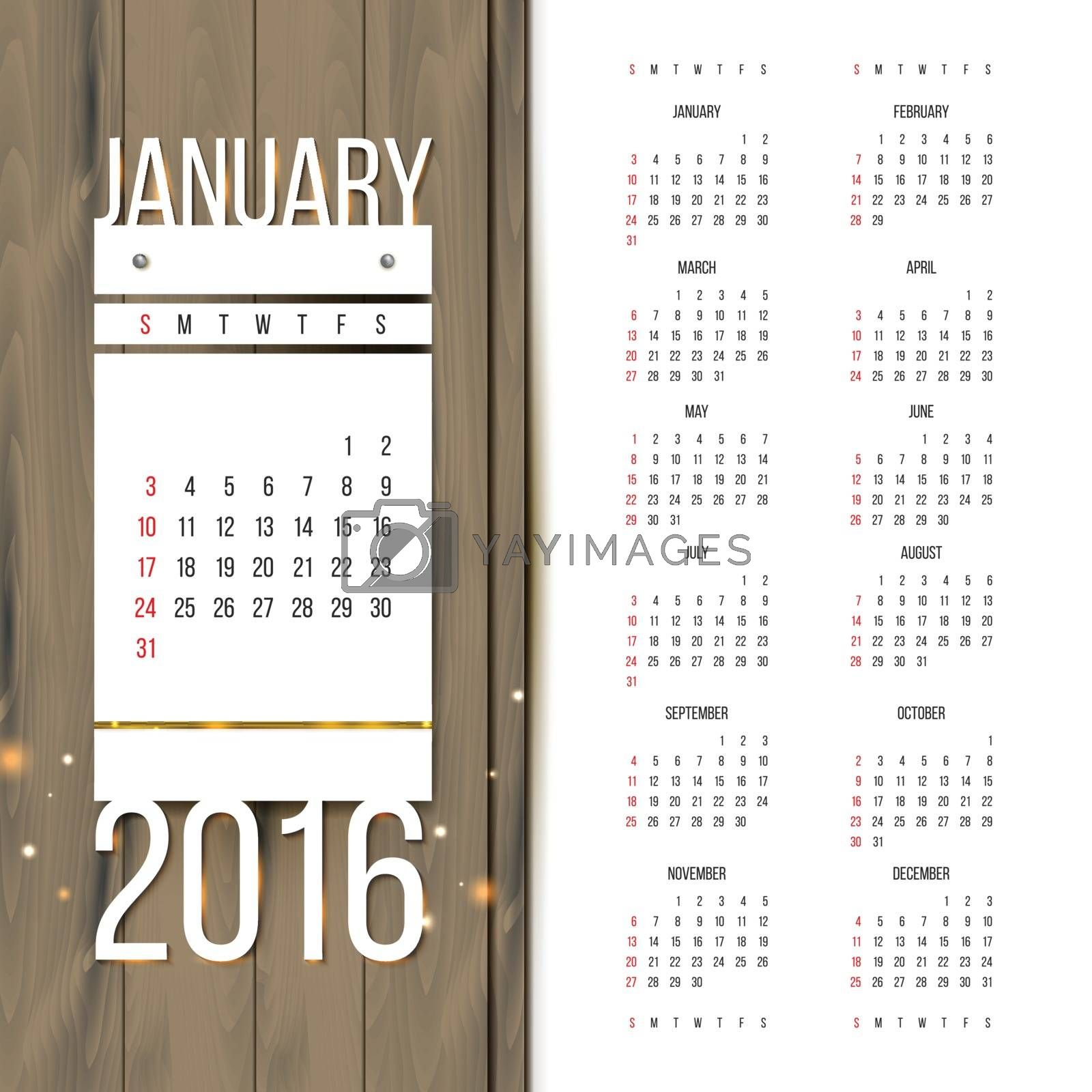 Calendar 2016 with January preview. Week starts on Sunday.