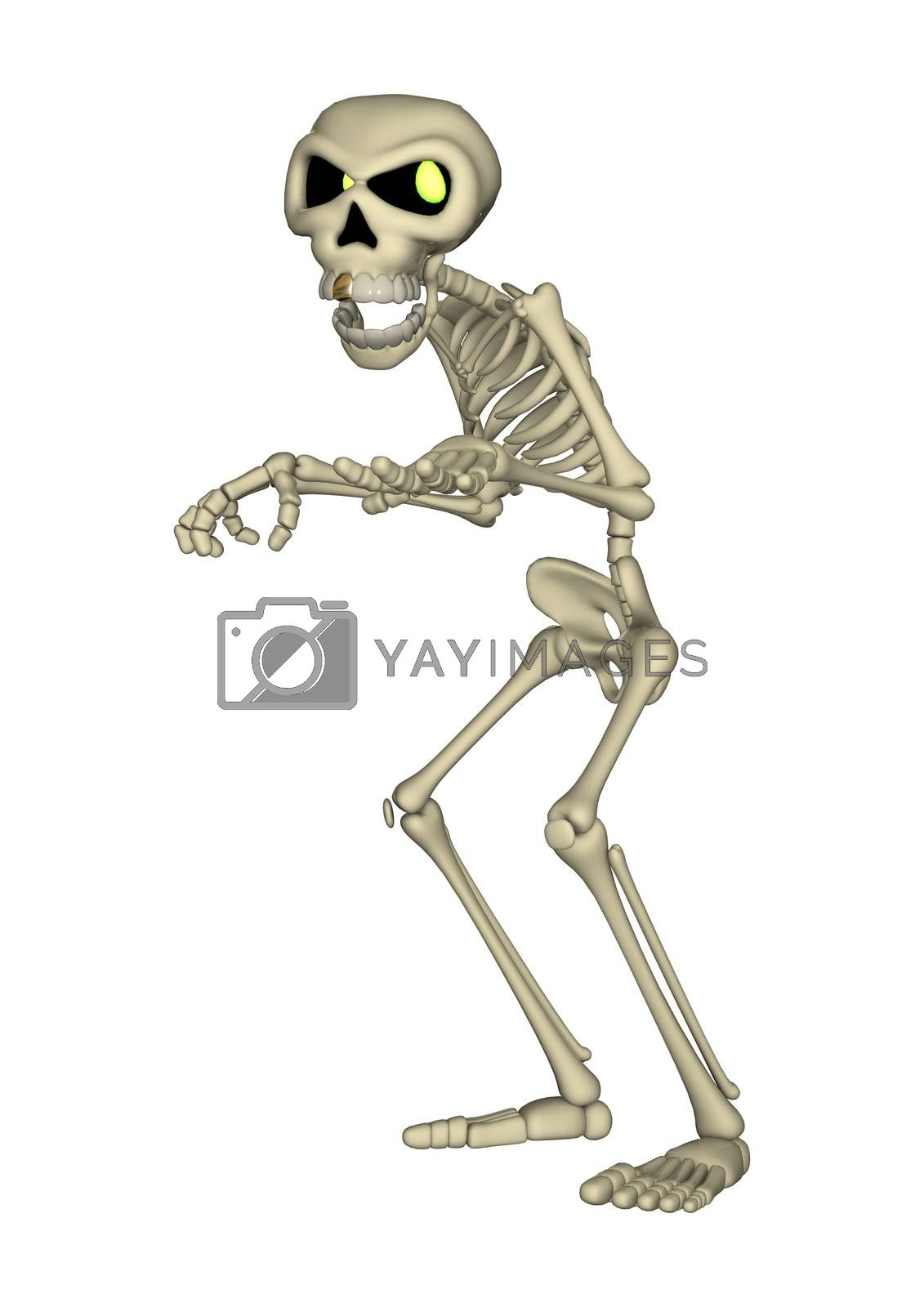 3D digital render of a cartoon human skeleton isolated on white background