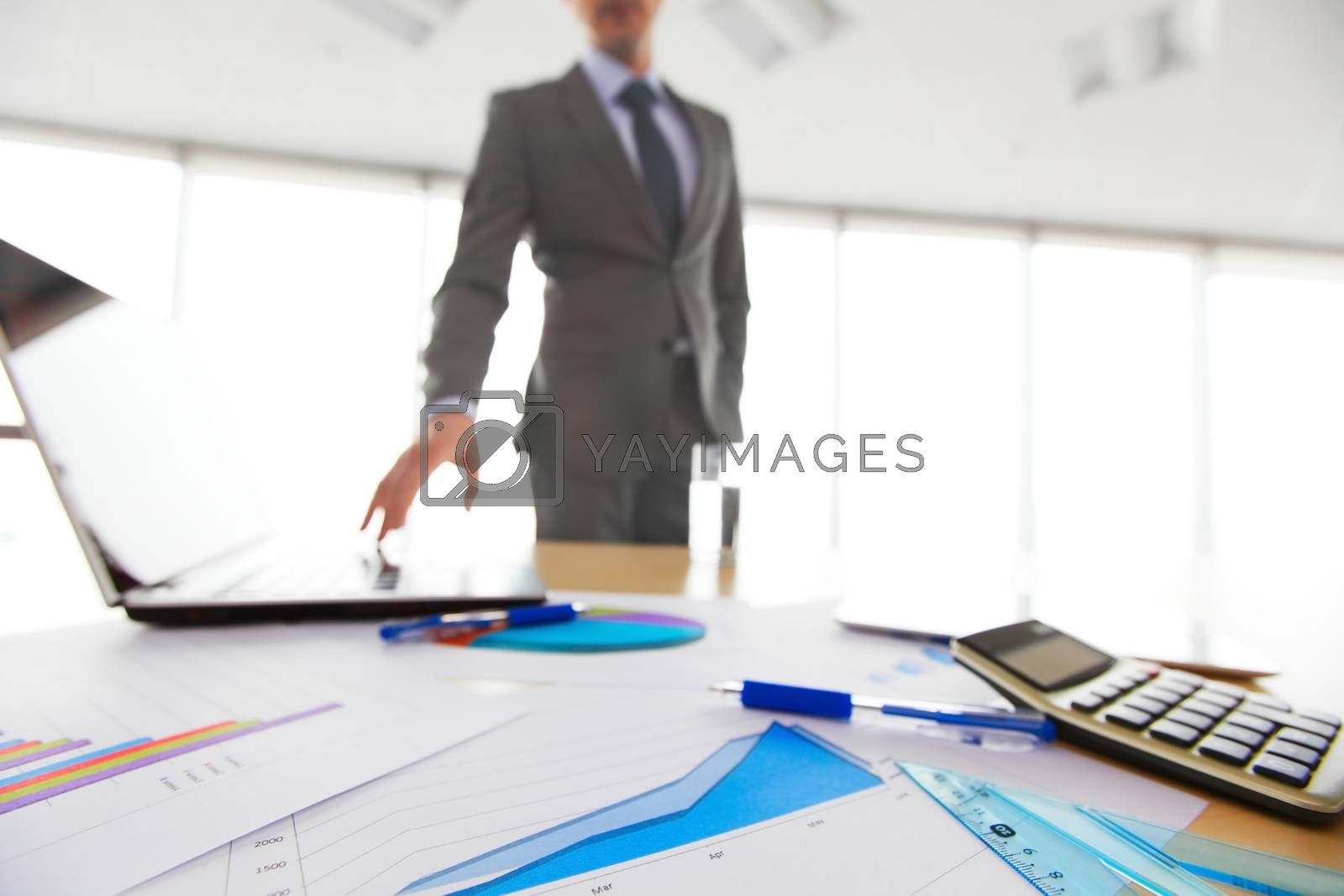 Businessman and financial documents with diagrams at modern workplace