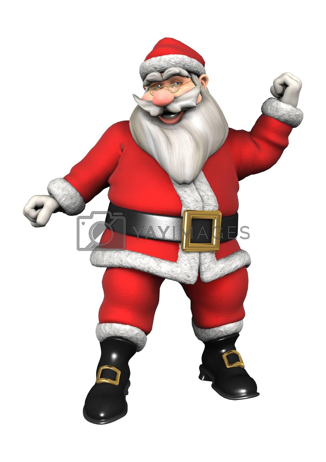 3D digital render of Santa doing sport isolated on white background