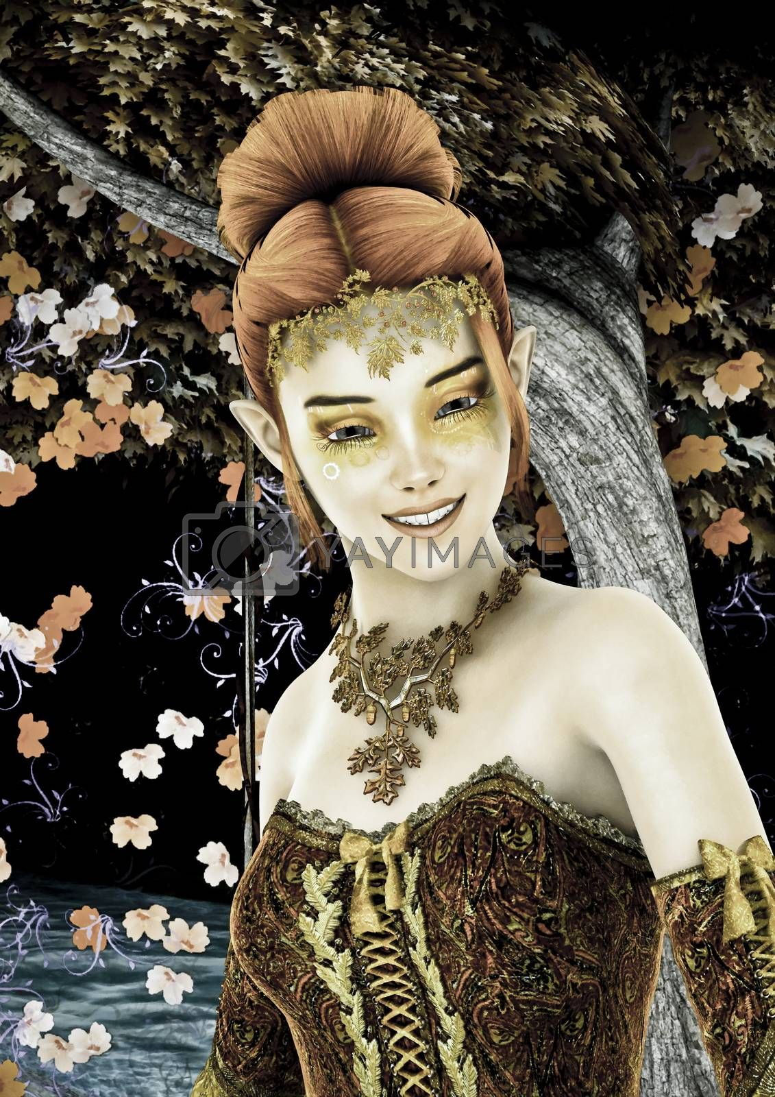 3D digital render of a beautiful princess of autumn ona fantasy garden background