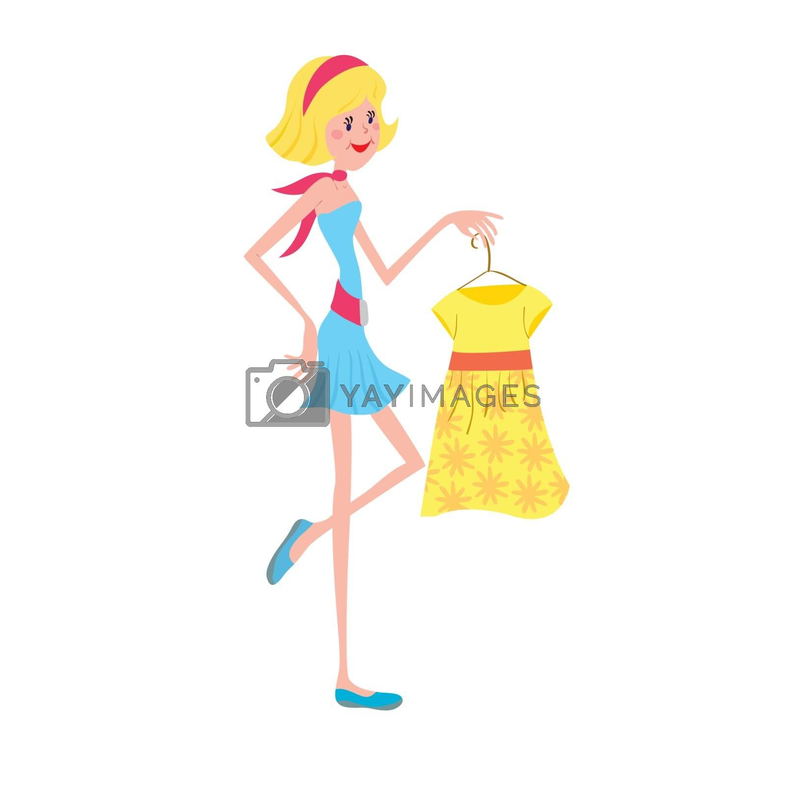 Girl with fashion dress on the white background vector illustration