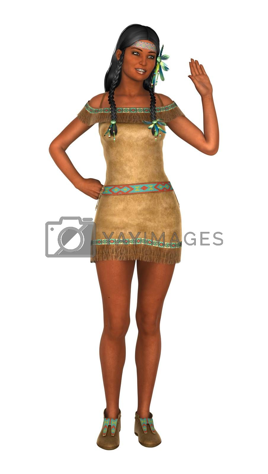 3D digital render of a native American woman waving isolated on white background