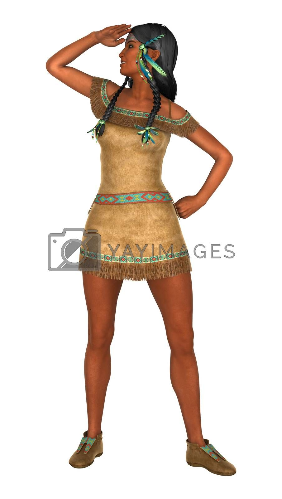 3D digital render of a native American woman isolated on white background