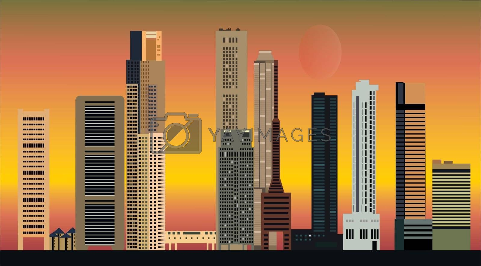 singapore city skyline by compuinfoto