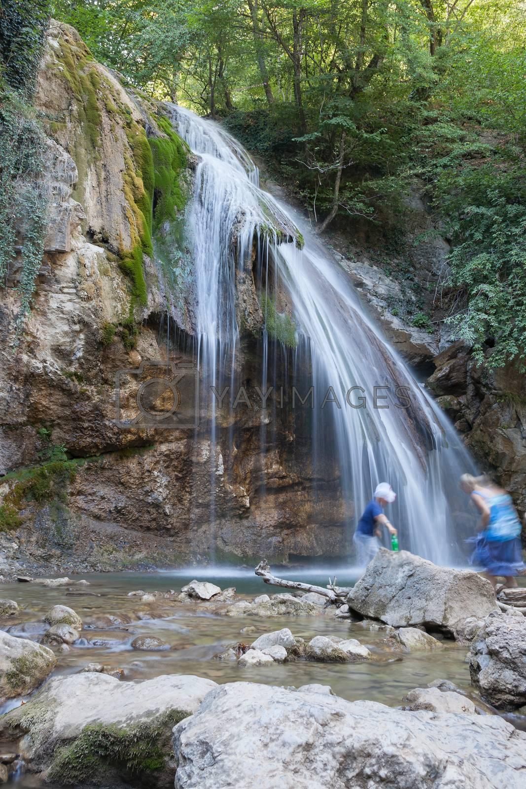 beautiful big falls Dzhur-Dzhur in the summer afternoon, Crimea, Russia