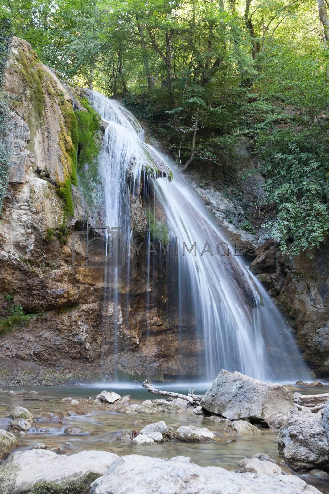 beautiful big falls Dzhur Dzhur in the summer afternoon,Crimea, Russia