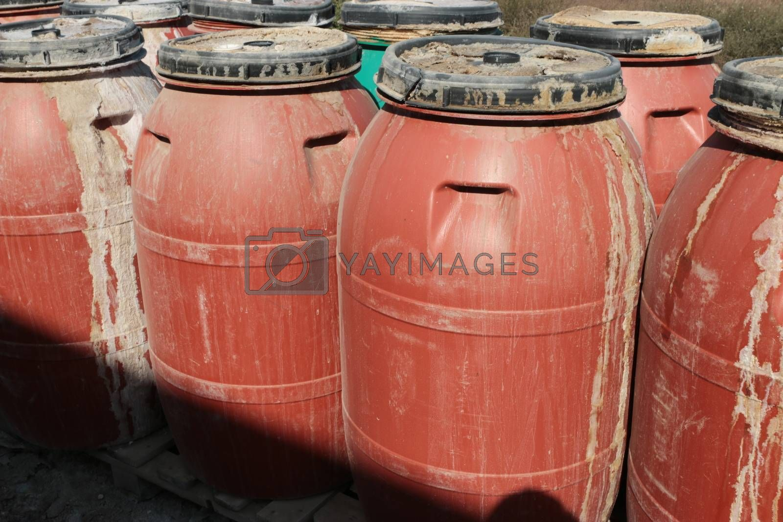 Old empty plastic drums
