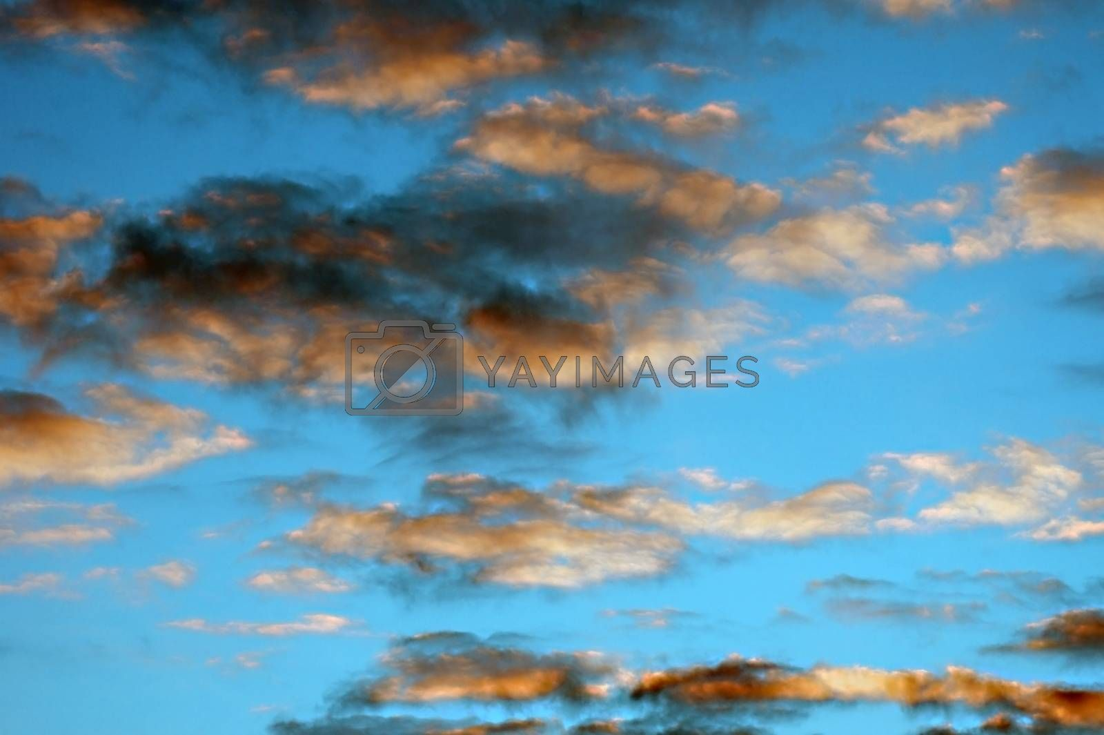 Dark clouds and black smoke mingle in front of a bright blue sky, an abstract contrast.