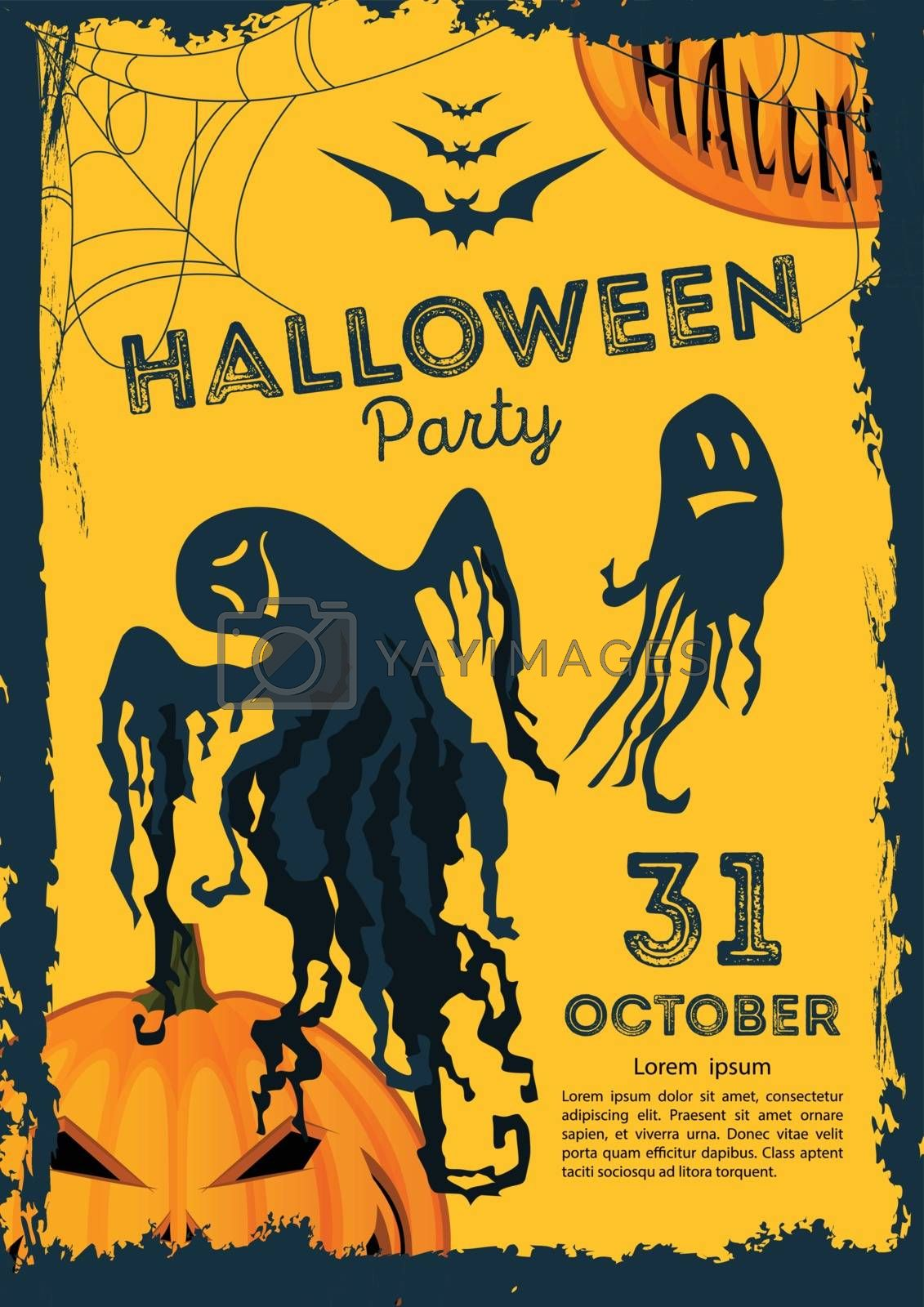 Vector illustration. Halloween poster on a yellow background with ghosts and Jack Lantern. Halloween party.