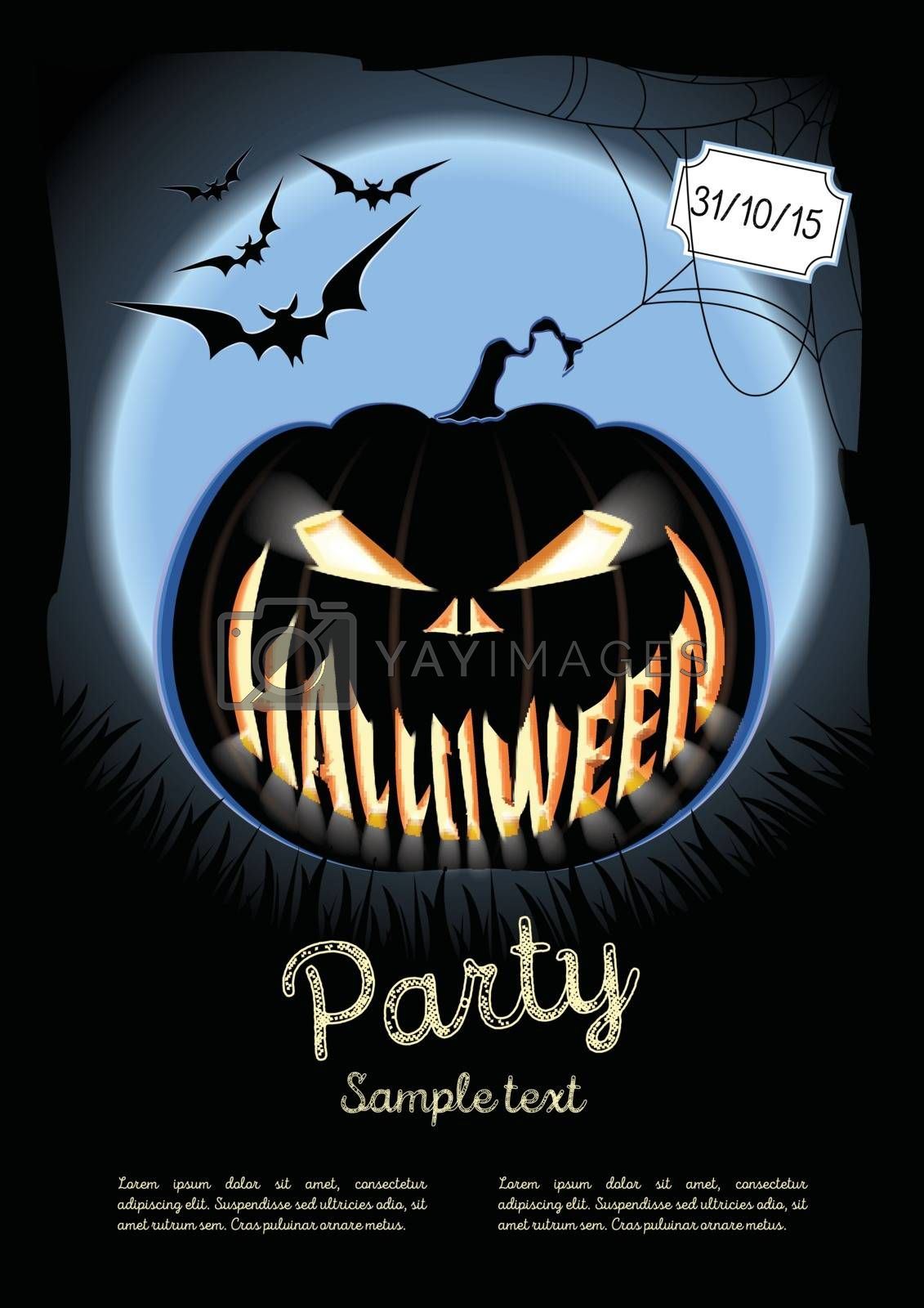 Vector illustration. Halloween poster on the background of a blue moon. Lantern Jack. Halloween party. Bats on background of the sinister moon.