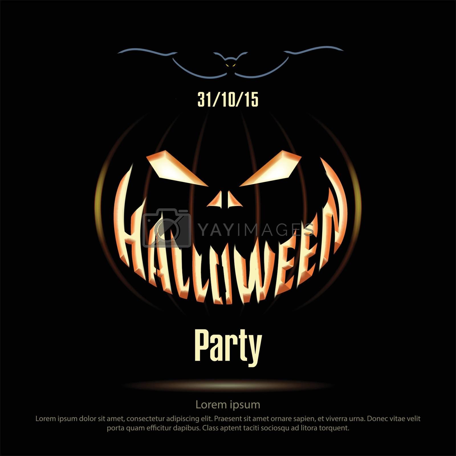 Vector illustration. Halloween poster on a black background. Jack Lantern on black dark background. Halloween party. Silhouette bat.