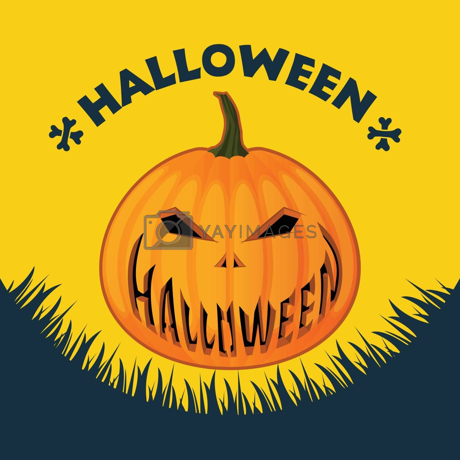 Vector illustration. Halloween poster on a yellow background. Lantern Jack carved a smile on a yellow background.