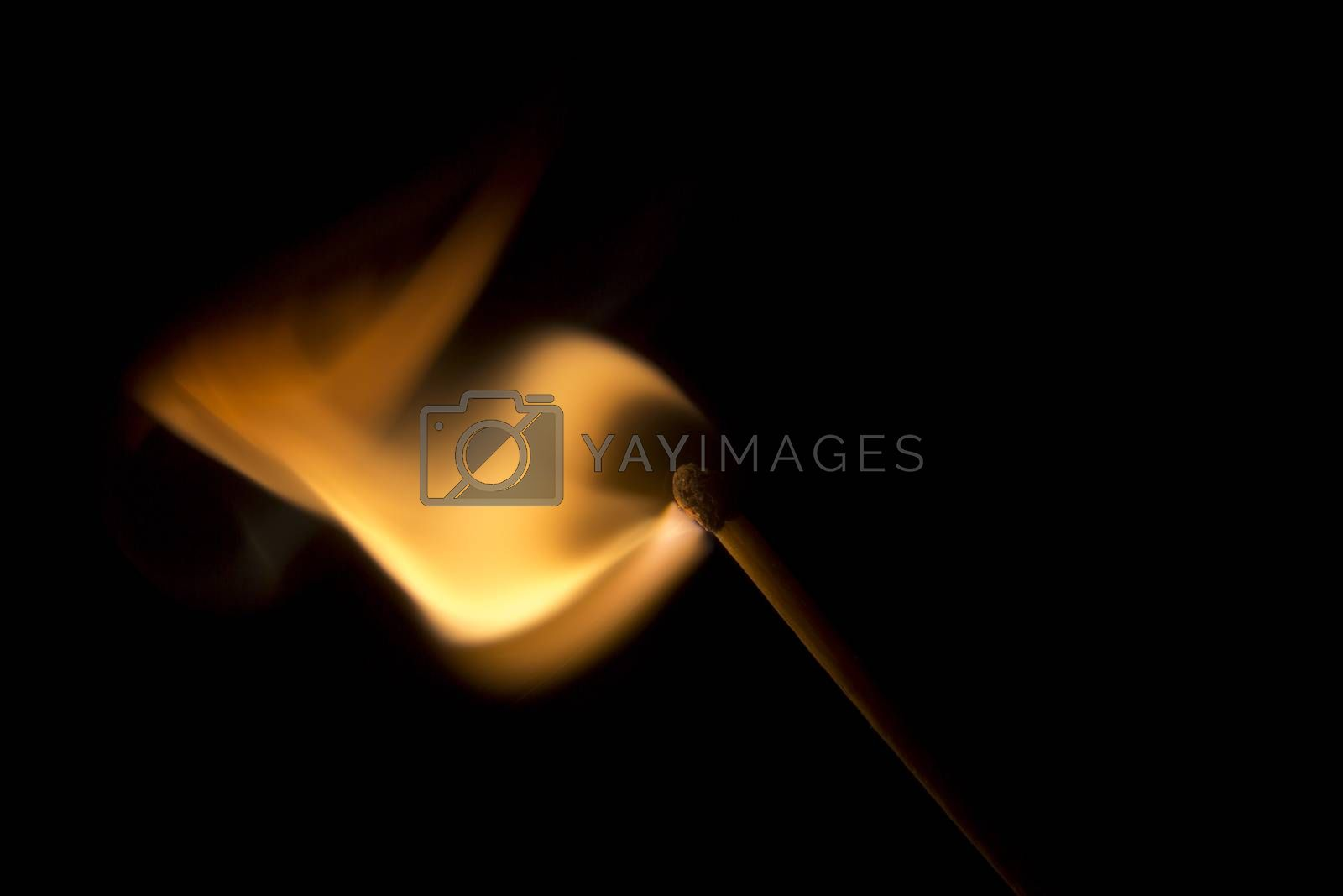 Match Igniting in a burst of fire. Macro Image.
