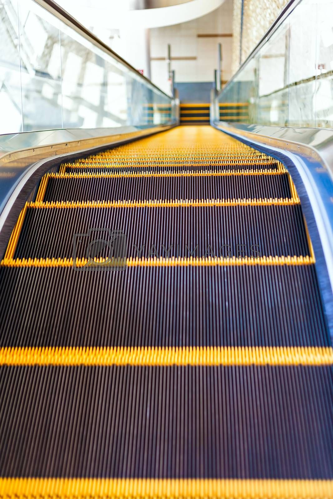 Escalator or moving staircase in modern architecture