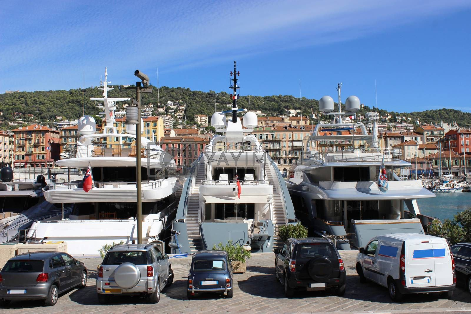 Beautiful and luxurious yachts in the port of Nice