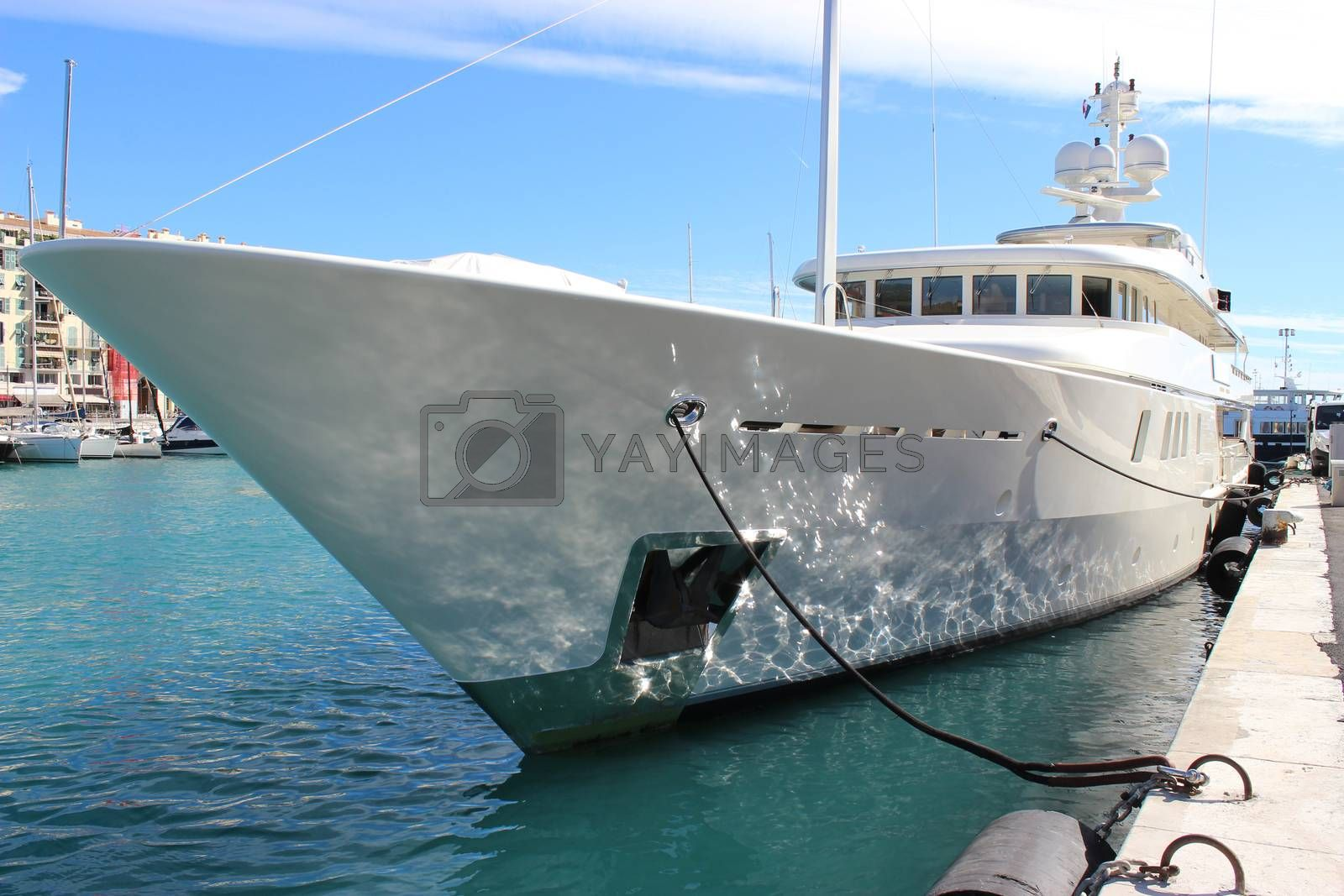 Beautiful and luxurious yacht in the port of Nice