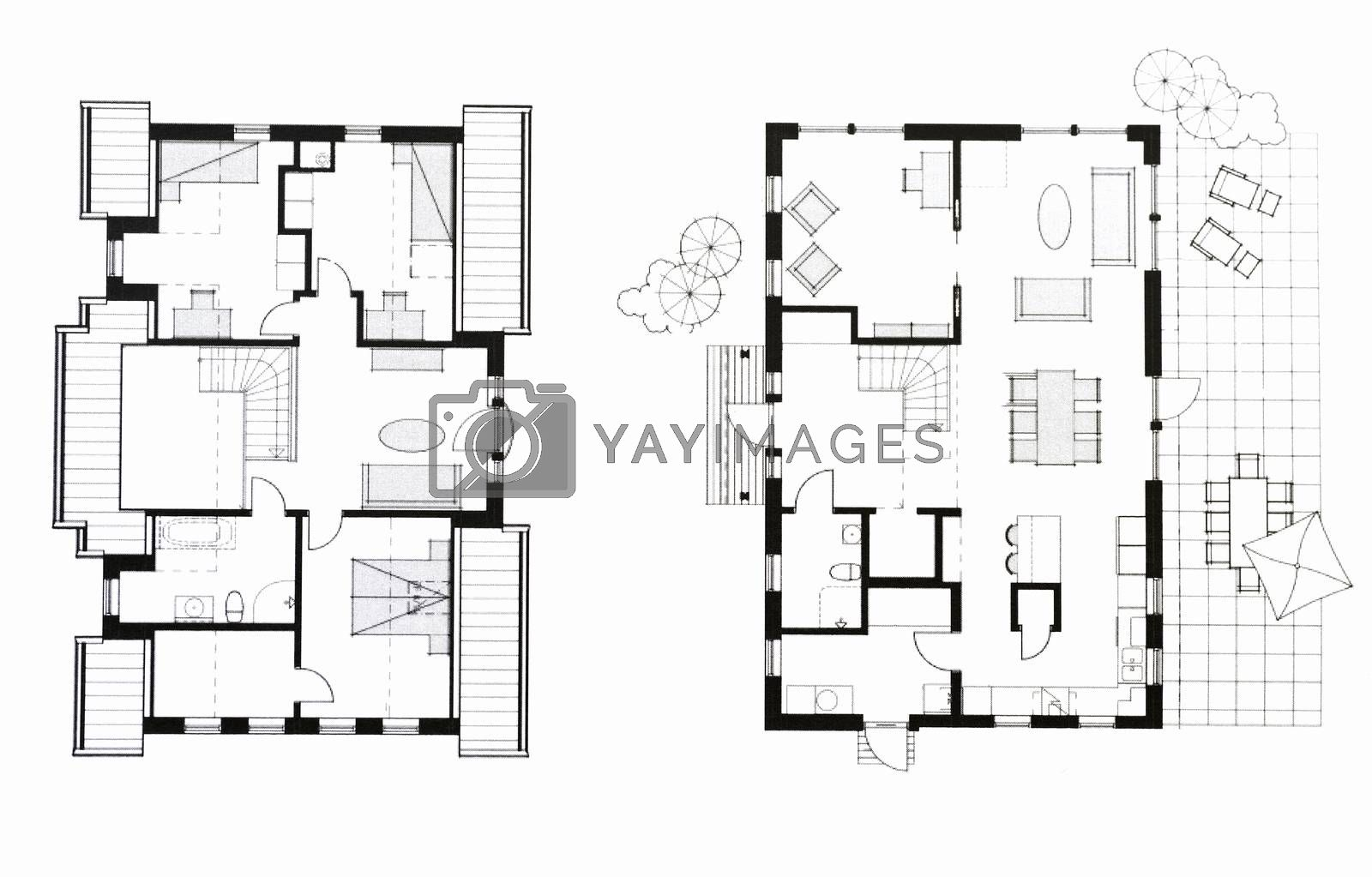 A photo of a blueprints depicting two storey house from above. Created for fun with my new CAD application.