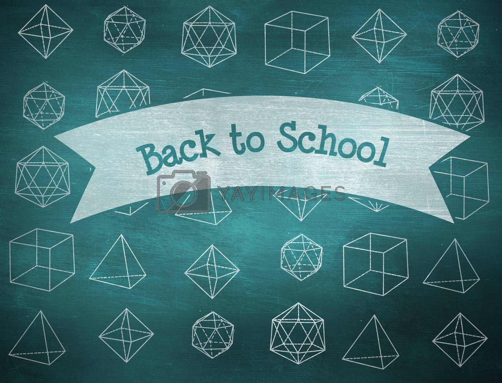 The word back to school and geometric shape against green chalkboard