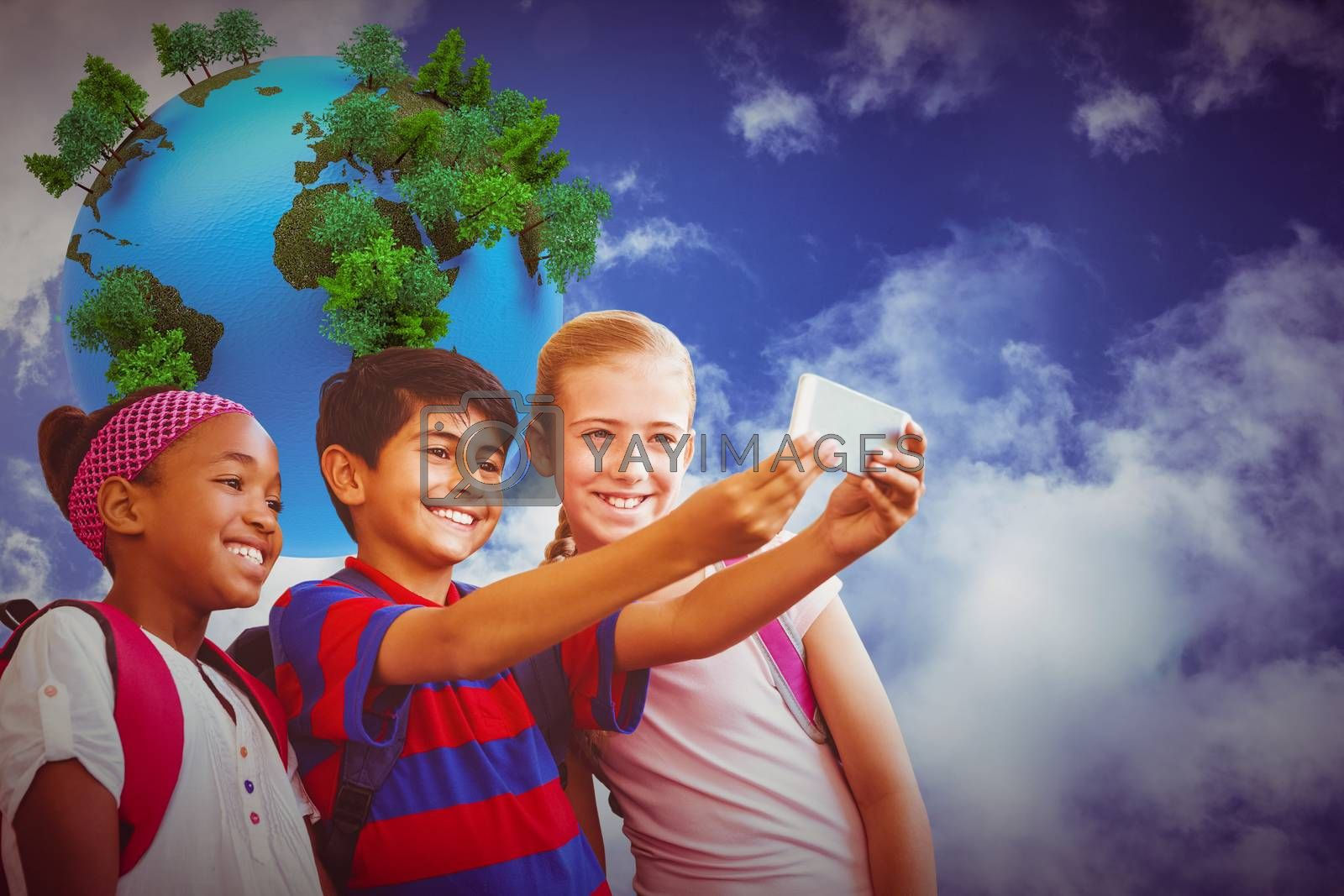 Happy kids taking selfie in school corridor against digitally generated earth floating in air