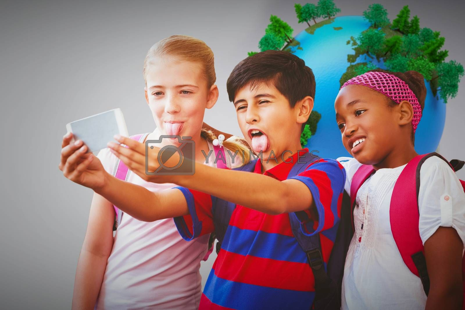 School kids taking selfie in school corridor against globe in front of statistic