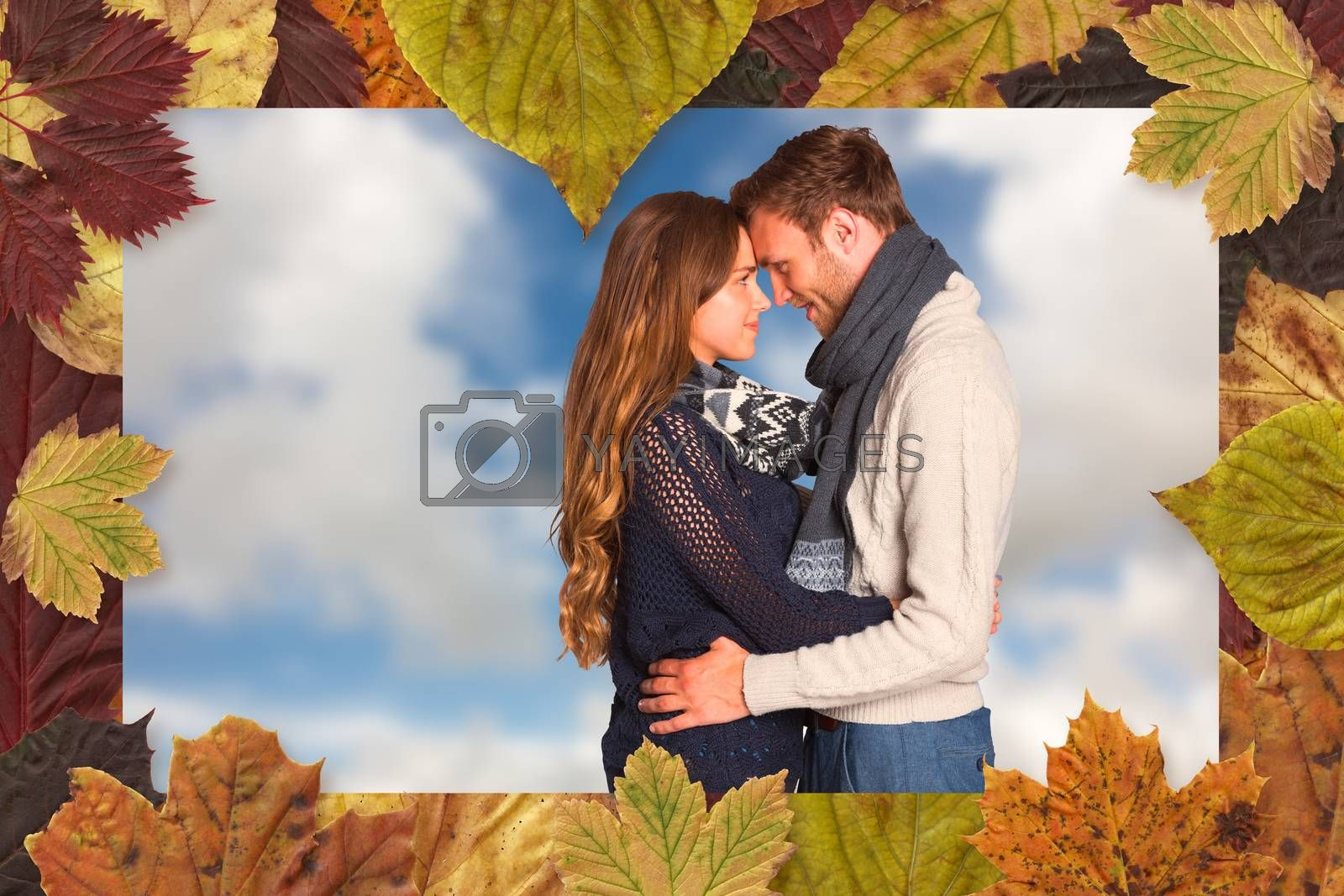 Side view of young couple embracing against blue sky with white clouds