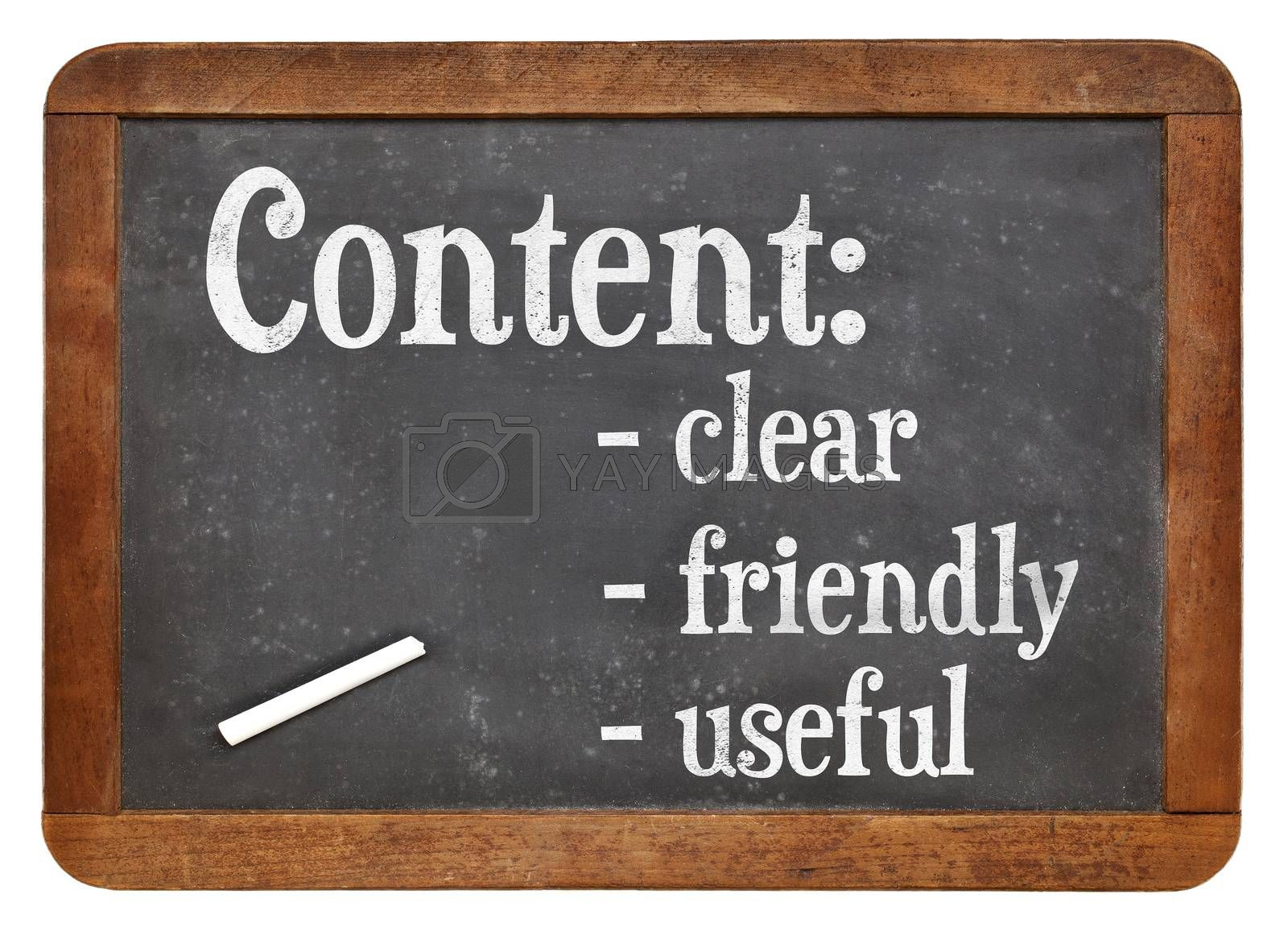 Clear, friendly and useful content  - writing and publishing recommendation on a vintage slate blackboard