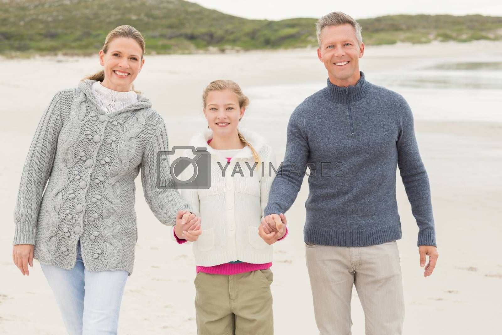 Mother and father with their daughter at the beach
