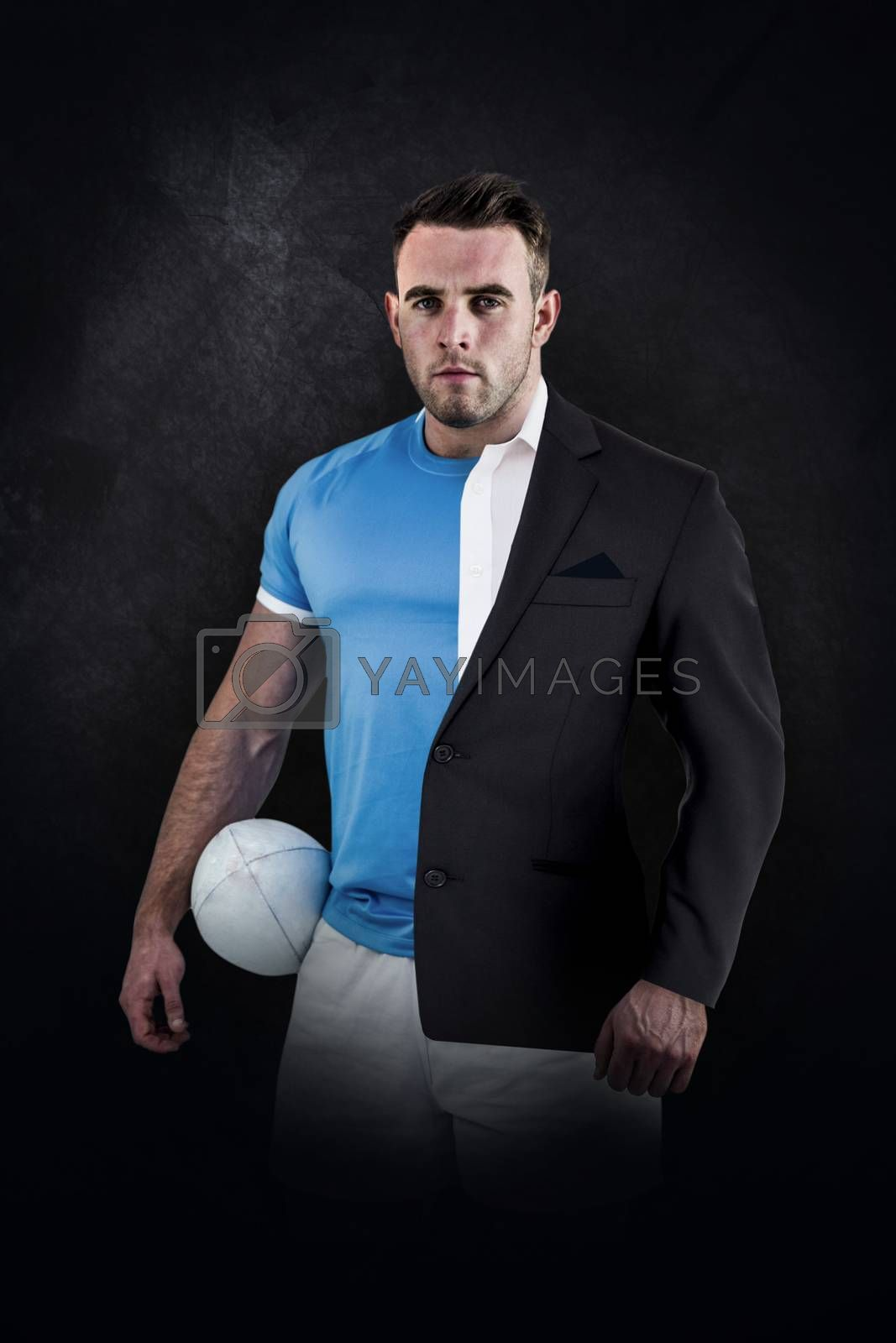 Rugby player looking at camera against half a suit