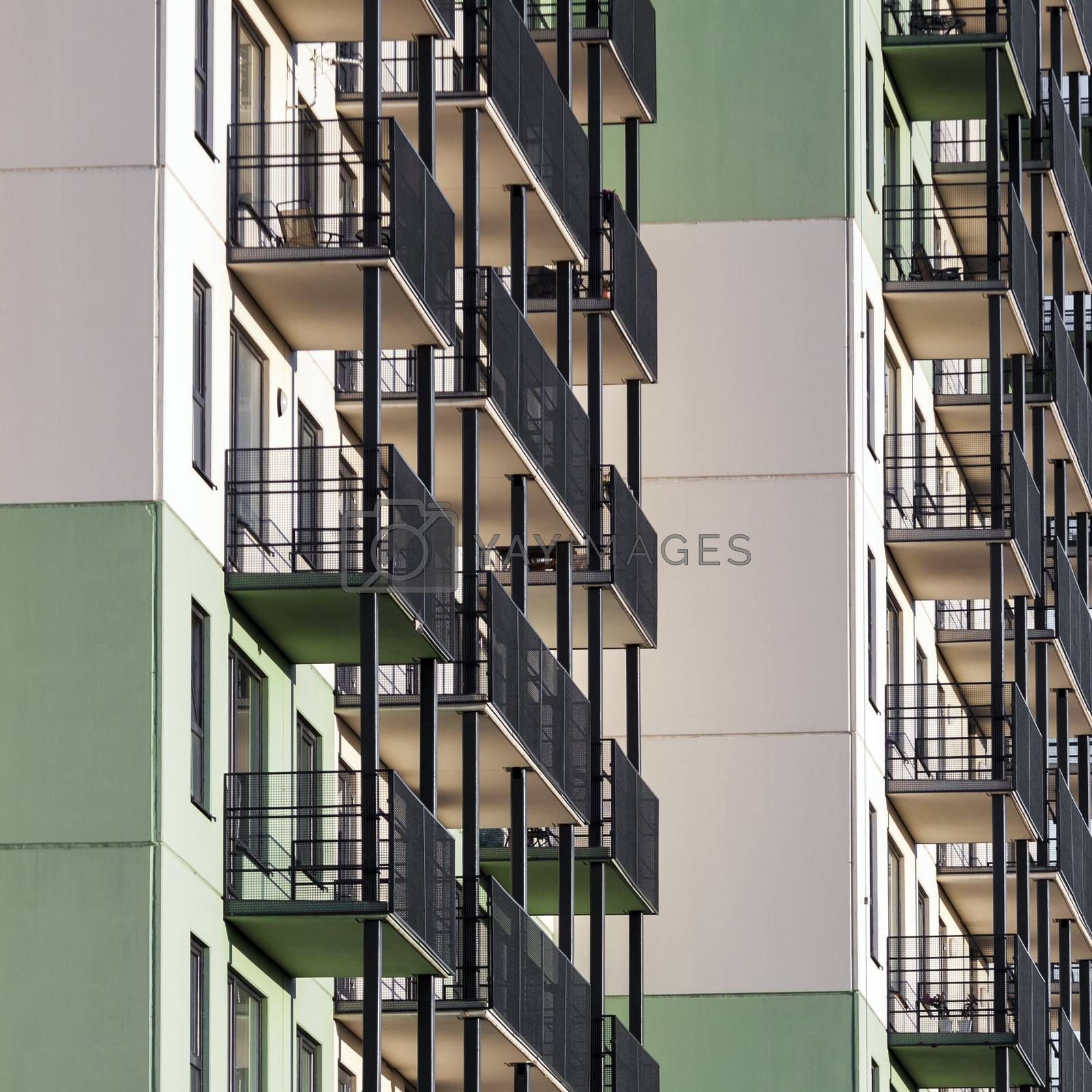 Modern residential building with balconies