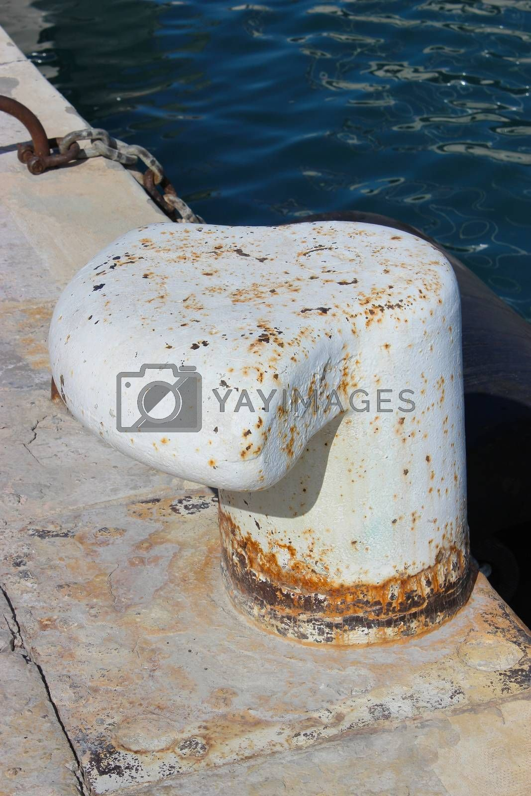 Old Iron Bollard at a Harbor of Nice in France