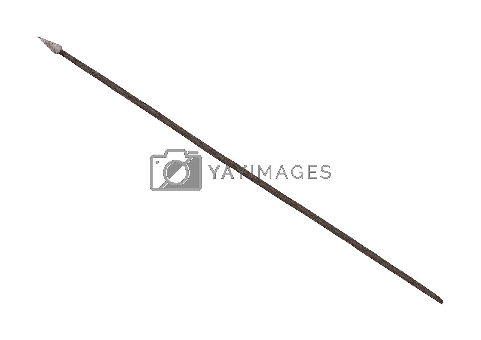 3D digital render of an indian spear isolated on white background