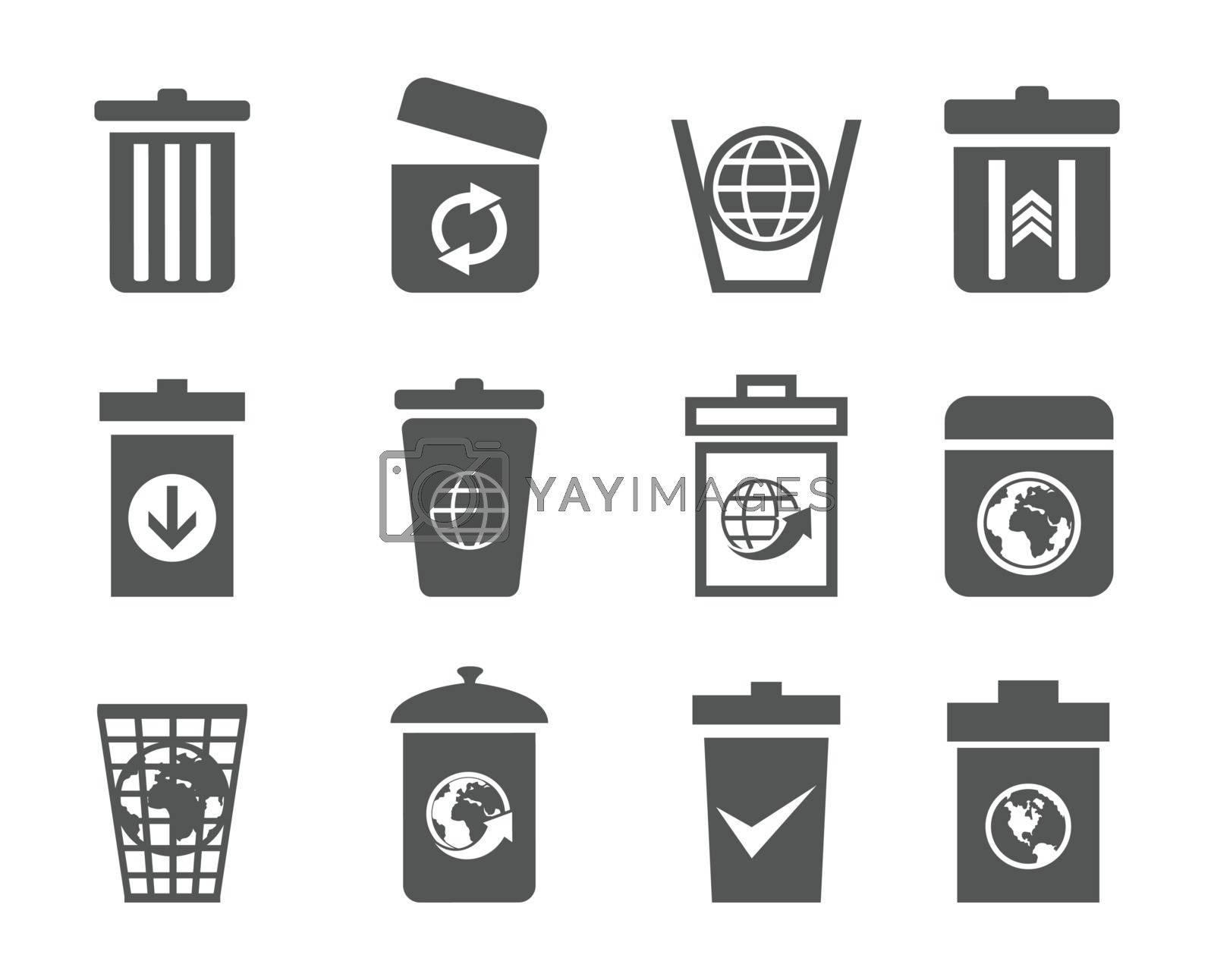 Set of icons of baskets. A vector illustration
