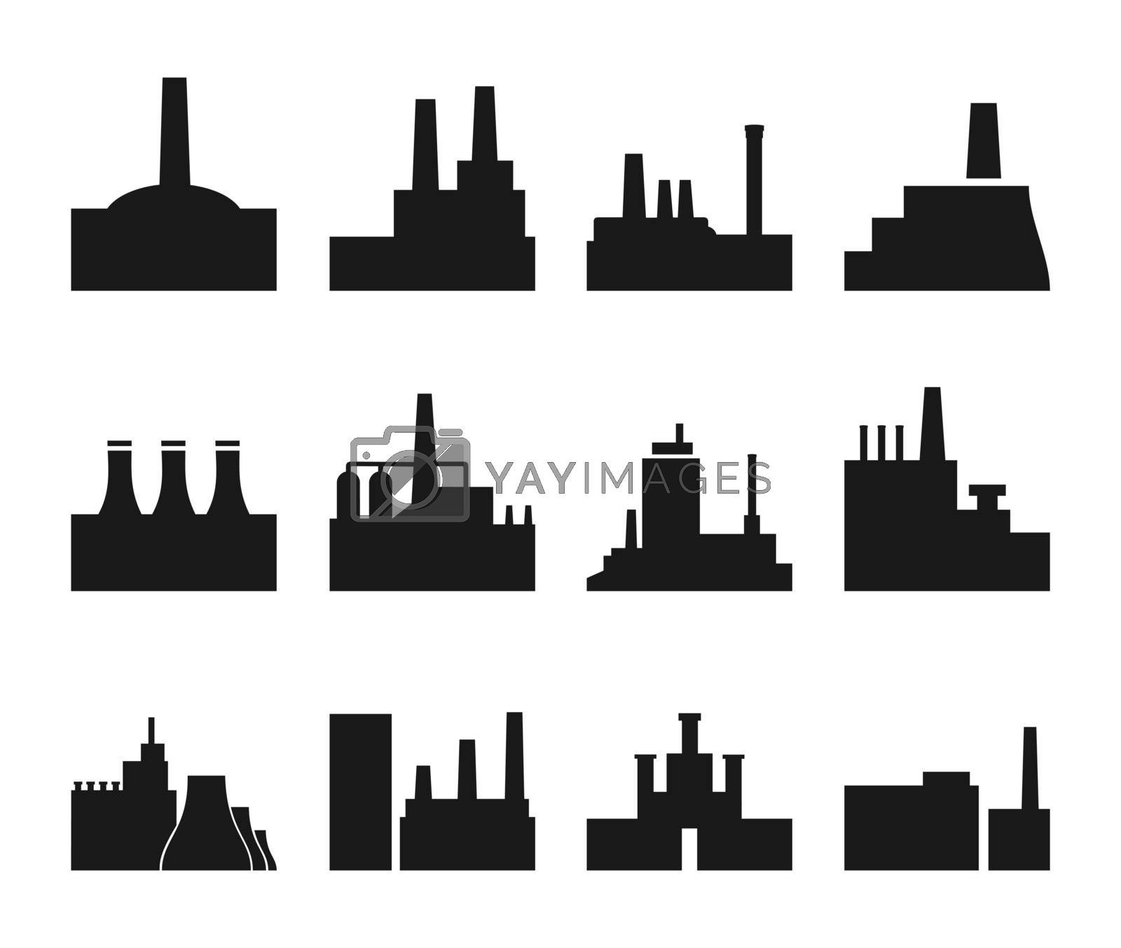 Set of icons on a theme the industry. A vector illustration