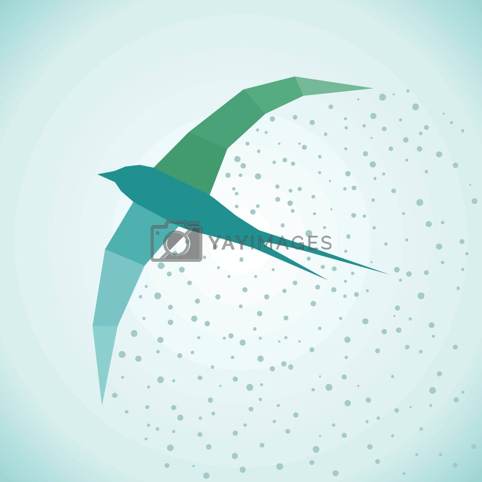 Flying bird Seagull in the style of patchwork. Vector illustration