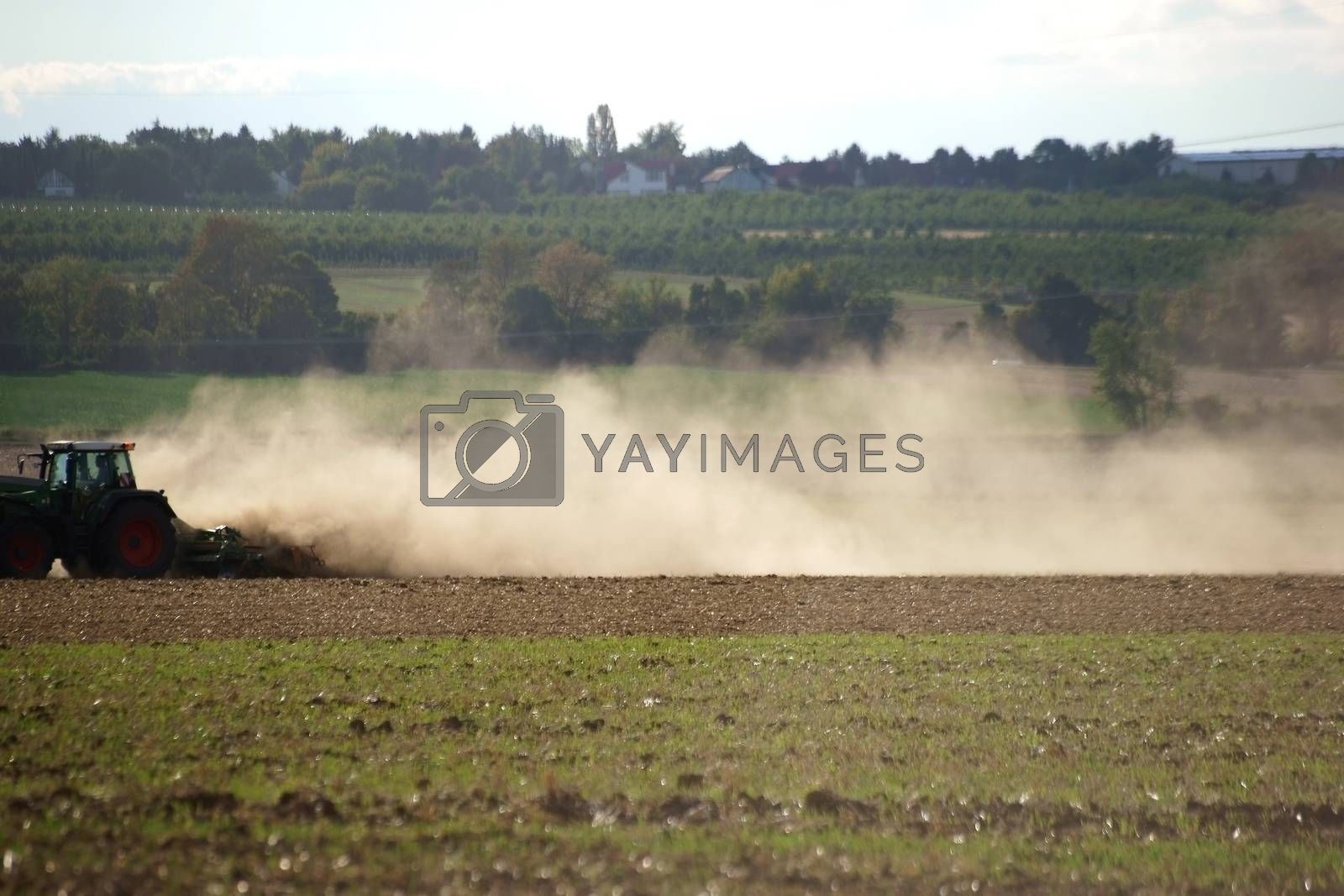 A tractor with a plow dust on the dry ground.